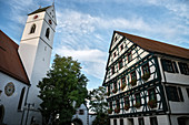 Church tower and half-timbered houses in Riedlingen, Biberach district, Baden-Württemberg, Danube, Germany