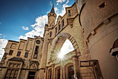 Gothic archway at Hohenzollern Castle, Sigmaringen, Baden-Wuerttemberg, Danube, Germany
