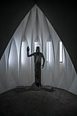 Sculpture inside the expressionist garrison church of St Johann Baptist, Neu-Ulm, Bavaria, Germany