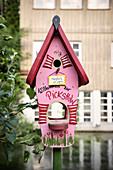 creative bird house in the Fischerviertel, Ulm, Danube, Swabian Alb, Baden-Württemberg, Germany