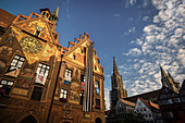 Ulm City Hall and the Minster, festively decorated for Oath Monday, Ulm, Danube, Swabian Alb, Baden-Württemberg, Germany