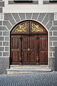 beautiful historic entrance gate in old town, Ulm, Danube, Swabian Alb, Baden-Württemberg, Germany