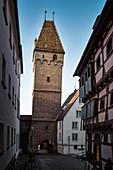the crooked butcher tower, Ulm, Danube, Swabian Alb, Baden-Württemberg, Germany
