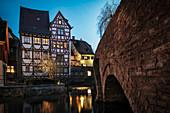 Brücke über Blau im Fischerviertel, Ulm, Schwäbische Alb, Baden-Württemberg, Deutschland