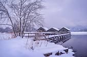 Die Fischerhäuser von Schlehdorf an einem nebligen Wintermorgen, Oberbayern, Bayern, Deutschland, Europa