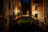 Small bridge in Venice at night, Venice, Veneto, Italy, Europe