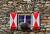 Window of a mountain hut in East Tyrol, Austria, Europe