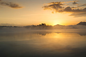 Sunrise over the Staffelsee, Uffing, Bavaria, Germany, Europe