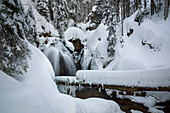 Winter at the Rissloch Falls, Bodenmais, Bavarian Forest, Bavaria, Germany, Europe