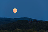 Full moon in Chianti, east of Pogibonsi, Tuscany, Italy