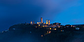 San Gimignano in the blue hour, Province of Siena, Tuscany, Italy