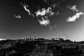 Black and white picture of San Gimignano, Province of Siena, Tuscany, Italy