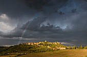 Rainbow over Monticchiello, Val d'Orcia, Tuscany, Italy