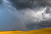 Rainbow and thunderstorm mood in Val d'Orcia, Tuscany, Italy