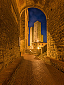Evening in the streets of San Gimignano, Province of Siena, Tuscany, Italy