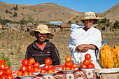 Vegetable stand in the central highlands near Ampefy, Madagascar, Africa