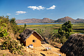 House on Lake Itasy, Lac Itasy, Merina tribe, highlands west of Antananarivo, Madagascar, Africa