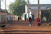 Gambia; Central River Region; Main street of Kuntaur; Street scene;