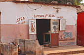 Gambia; Capital Region Banjul; Butcher shop with a painted facade in Bakau