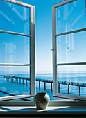 View from an open window of a room overlooking the Baltic sea. Heiligendam, Germany.