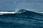 Breaking wave in the Teahupoo surfing area, Tahiti Iti, Tahiti, Windward Islands, French Polynesia, South Pacific