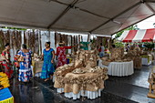 Traditionally woven handicrafts at a cultural festival, Papeete, Tahiti, Windward Islands, French Polynesia, South Pacific