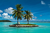 Two palm trees and a tiki sculpture on a small island at the entrance to the port of Bora Bora Airport (BOB), Bora Bora, Leeward Islands, French Polynesia, South Pacific