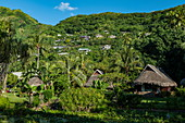 Garden bungalows of the Sofitel Ia Ora Beach Resort with houses on the mountainside, Moorea, Windward Islands, French Polynesia, South Pacific
