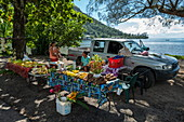 Fruit and vegetables for sale at roadside market stall, Moorea, Windward Islands, French Polynesia, South Pacific