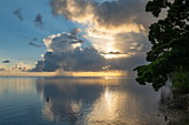Moorea Lagoon at sunset seen from Linareva Beach Resort, Teniutaoto, Moorea, Windward Islands, French Polynesia, South Pacific