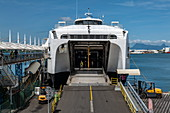 Access to the loading hatch from the car deck of the ferry Aremiti 2, which commutes between Tahiti and Moorea, Papeete, Tahiti, Windward Islands, French Polynesia, South Pacific