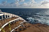 Rear sundeck of the Aranui 5 (Aranui Cruises) passenger cargo ship, at sea between the Tuamotu Islands and the Marquesas Islands, French Polynesia, South Pacific