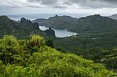 Lush vegetation and Taipivai Bay, near Taipivai, Nuku Hiva, Marquesas Islands, French Polynesia, South Pacific