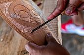 Wood carving in the Te Tumu Cultural Center, Tekoapa, Ua Huka, Marquesas Islands, French Polynesia, South Pacific