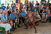 A Marquesan 'warrior' performs a traditional dance at a cultural event for passengers on the Aranui 5 (Aranui Cruises) passenger cargo ship, Hakahau, Ua Pou, Marquesas Islands, French Polynesia, South Pacific