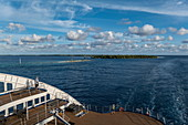 Rear sundeck of the passenger cargo ship Aranui 5 (Aranui Cruises) after crossing the Tiputa Channel into the lagoon, Rangiroa Atoll, Tuamotu Islands, French Polynesia, South Pacific