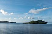 Cruise ship Emerald Princess (Princess Cruises) in roadstead in the Bora Bora lagoon, Bora Bora, Leeward Islands, French Polynesia, South Pacific