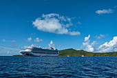 Cruise ship in roadstead in the Bora Bora lagoon, Bora Bora, Leeward Islands, French Polynesia, South Pacific