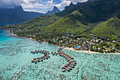 Aerial view of overwater bungalows at the Hilton Moorea Resort
