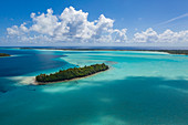 Aerial view of Motu Islet in the Bora Bora Lagoon, Bora Bora, Leeward Islands, French Polynesia, South Pacific