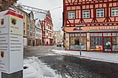 Herrngasse in winter, Coburg, Upper Franconia, Bavaria, Germany