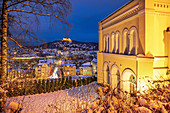 Night view of Coburg in winter, Upper Franconia, Bavaria, Germany