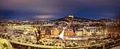 Night panorama of Coburg in winter, Upper Franconia, Bavaria, Germany