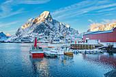 Fischerdorf Reine auf Lofoten Inseln am Abend, Reine, Norwegen