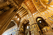 Duomo, Cathedral of Monreale, interior view, Palermo, Sicily, Italy
