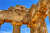 Partial view of Temple E, Greek site, Selinunte, Sicily, Italy