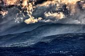 Wolken, Ätna, von Taormina gesehen, Sizilien, Italien