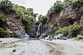 Alcantara Wasserfall, Taormina, Sizilien, Italien