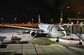 "Fiji Airways Airbus A330-200 airplane called ""Island of Vatulele"" at a gate at Singapore Changi Airport at night, Singapore, Singapore, Asia"