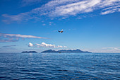 Turtle Airways seaplane at low altitude, Little Vomo Island, Mamanuca Group, Fiji Islands, South Pacific
